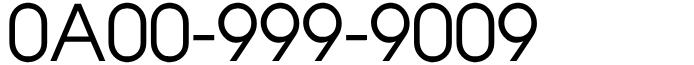 フリーダイヤル良番0A00-999-9009